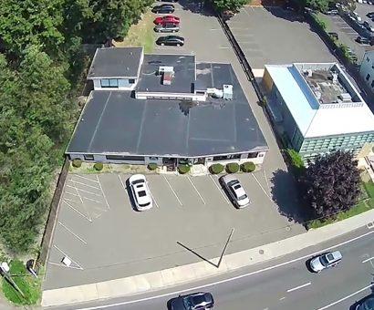 Aerial of 719 Post Road East in Westport, CT